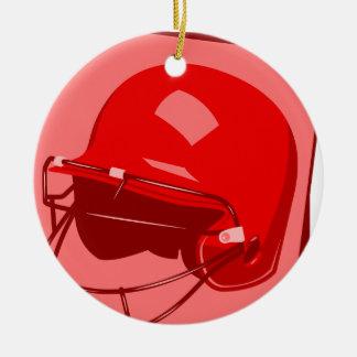 red baseball helmet logo ceramic ornament