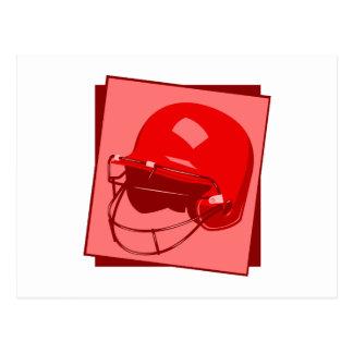 red baseball helmet logo postcard