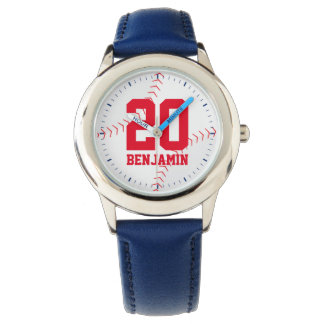 Red Baseball Jersey Number Wrist Watch