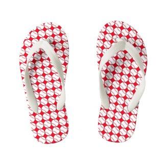 Red Baseball Kids Flip Flops