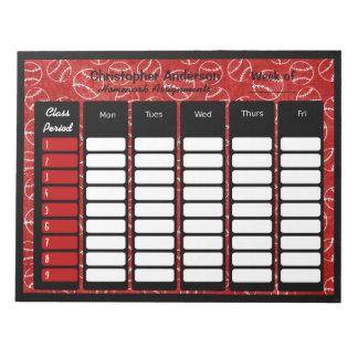 Red Baseball Personalized School Homework Notepad