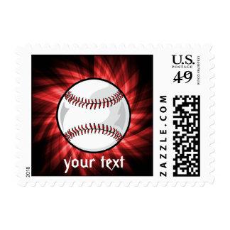 Red Baseball Postage Stamp