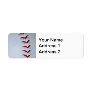 Red Baseball Stitches Label