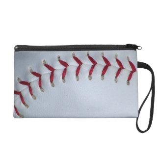 Red Baseball Stitches Wristlet Purse