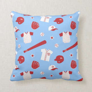 Red Baseball Theme Pattern, Boys Bedroom Throw Pillow