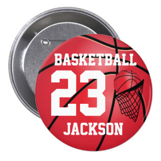 Red Basketball and Hoop | DIY Text Pinback Button