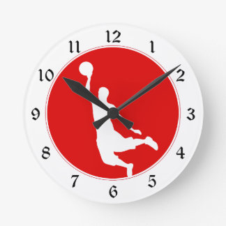 Red Basketball Circle Numbered Round Clock