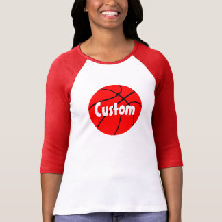 Red Basketball Custom 3/4 Sleeve Raglan T-shirt