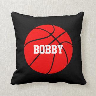 Red Basketball Custom Player Name Throw Pillow