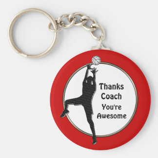 Red Basketball Keychains Thanks Coach or Your Text