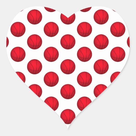 Red Basketball Pattern Heart Sticker