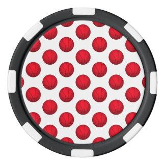 Red Basketball Pattern Set Of Poker Chips