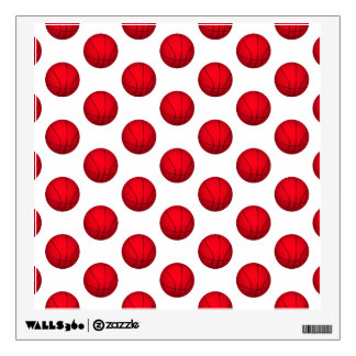 Red Basketball Pattern Wall Decal