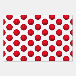 Red Basketball Pattern Lawn Signs