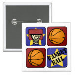 Red Basketball Pinback Buttons