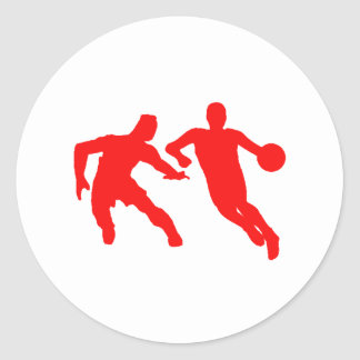 Red Basketball Players Classic Round Sticker