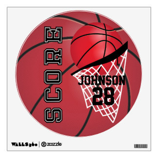 Red Basketball Score Wall Decal