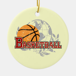 Red Basketball T-shirts and Gifts Double-Sided Ceramic Round Christmas Ornament