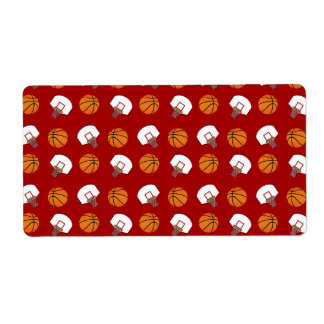 Red basketballs and nets pattern shipping labels