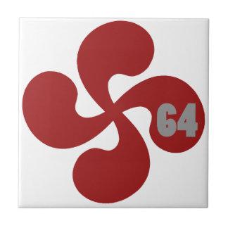 Red Basque crosses 64 Lauburu Ceramic Tile