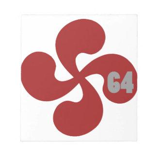 Red Basque crosses 64 Lauburu Memo Note Pads