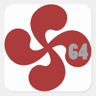 Red Basque crosses 64 Lauburu Square Sticker
