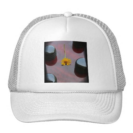 Red bass black knobs yellow flower image trucker hat