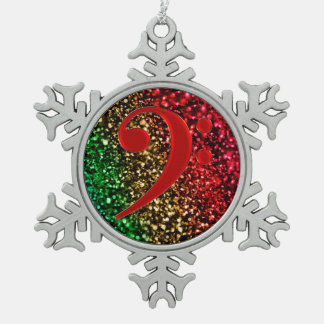 Red Bass Clef Music Holiday Ornament