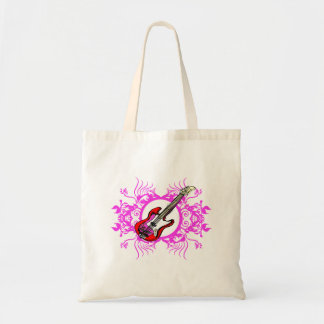 Red Bass Pink Floral Circle Blk Design Canvas Bags