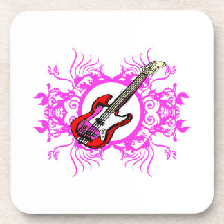 Red Bass Pink Floral Circle Blk Design Coasters