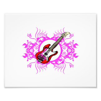 Red Bass Pink Floral Circle Blk Design Photo