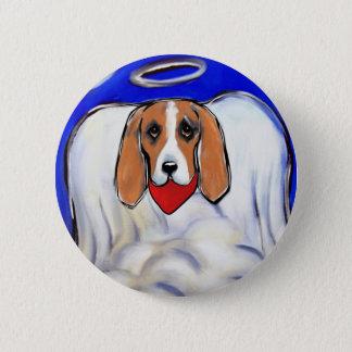 Red Bassett Hound Angel Pinback Button