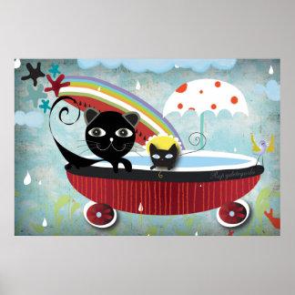 Red Bathtube Black Cat Poster