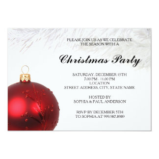 Red Bauble Christmas Party Invitation