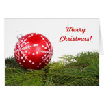 Red Bauble Greeting Cards