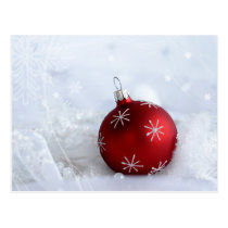 Red Bauble in Snow Postcard
