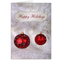 red bauble snow pines Corporate holiday Cards