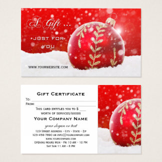 Red Bauble Sparkling Snow Christmas Gift Card