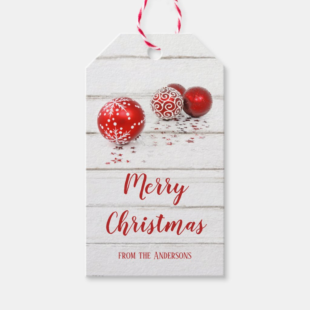 Red Baubles and Stars Merry Christmas Gift Tag