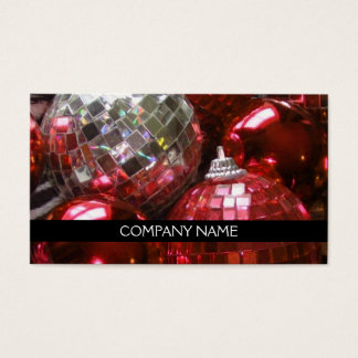 Red Baubles business card front text black