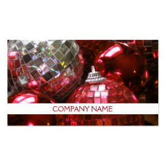 Red Baubles business card front text white