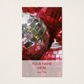 Red Baubles business card template vertical
