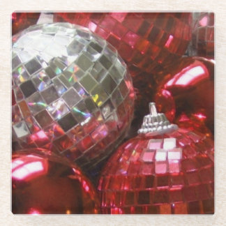 Red Baubles glass coaster