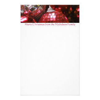Red Baubles header stationery red text