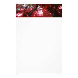 Red Baubles header stationery white
