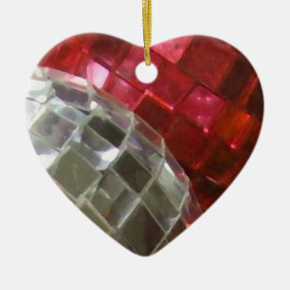 Red Baubles mirror ball ornament heart
