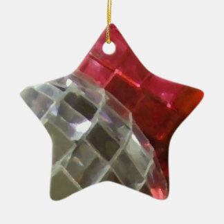 Red Baubles mirror ball star ornament