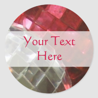 Red Baubles mirror ball 'Your Text' sticker