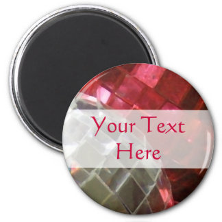 Red Baubles 'Your Text' mirror ball magnet