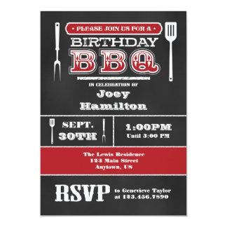 Red BBQ Birthday Chalkboard Invitation